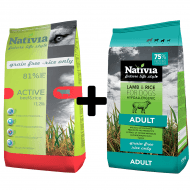 Nativia Dog Active 15kg + Adult Lamb&Rice 15kg + wysyłka gratis